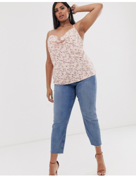 Pretty Little Thing Plus Cowl Neck Cami Top In Floral by Pretty Little Thing