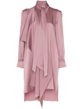 Tie Neck Asymmetric Satin Dress by Fendi