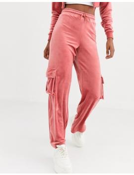 Fila Wide Leg Sweatpants With Cargo Pockets In Velour by Fila