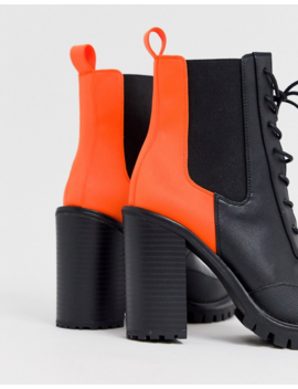 Asos Design Ellen Chunky Lace Up Boots In Neon by Asos Design