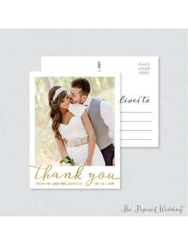 Printable Or Printed Photo Thank You Postcards With Faux Gold Foil   Picture Thank You Postcards For Wedding   Photo Thank You Postcards 101 by Etsy
