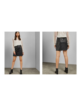 Ring Detail Pleather Mini Skirt by Ted Baker