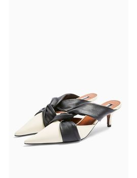 Jude Leather White Knot Mules by Topshop