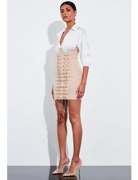 Peace + Love Nude Faux Suede Lace Up Corset Mini Skirt by Missguided