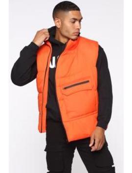 Nylon Angle Zip Vest   Orange by Fashion Nova