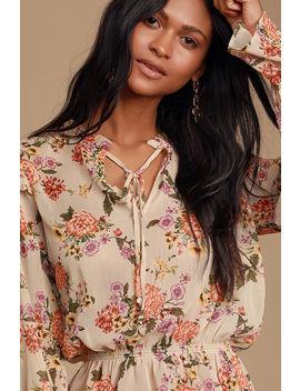Be Tender Beige Floral Print Sheer Ruffled Long Sleeve Top by Lulus