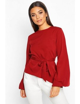 Asymmetric Balloon Sleeve Belted Blouse by Boohoo