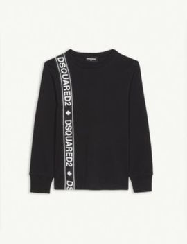 Tape Logo Cotton Sweatshirt 4 16 Years by Dsquared2