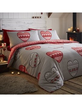 Portfolio Home Boden Red 100% Brushed Cotton Duvet Cover And Pillowcase Set by Dunelm