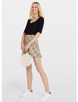 Beige Checked Mini Skirt by Miss Selfridge