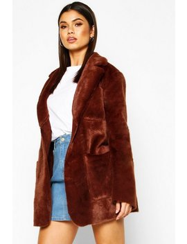 Bonded Faux Fur Belted Wrap Coat by Boohoo