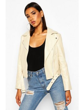 Faux Leather Belted Biker Jacket by Boohoo
