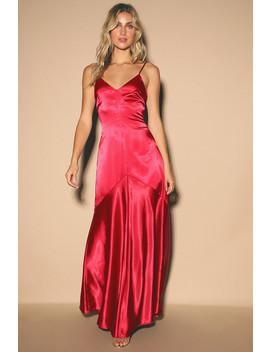 Buena Wine Red Satin Sleeveless Maxi Dress by Lulus