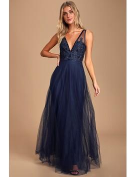 Legendary Evening Navy Blue Lace Sleeveless Maxi Dress by Lulu's