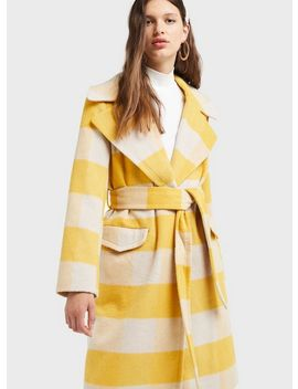 Yellow Check Belted Wrap Coat by Miss Selfridge
