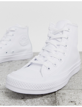 Converse Chuck Taylor Hi Leather White Monochrome Sneakers by Converse