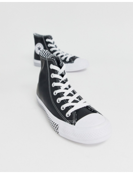 Converse Black Chuck Taylor Hi All Star Leather Voltage Sneakers by Converse
