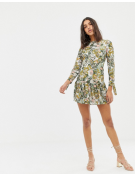 Love Long Sleve Printed Dress With Peplum by Love