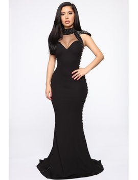 Talk Of The Night Studded Maxi Dress   Black by Fashion Nova