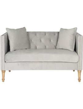 Safavieh Sarah Tufted Settee With Pillows, Grey by Safavieh