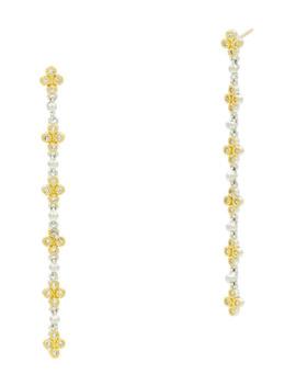 Freida Rothman Fleur Bloom Clover Linear Drop Earrings by Freida Rothman