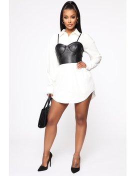 In A Rush Shirt Dress   White/Black by Fashion Nova