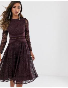 Asos Design Long Sleeve Prom Dress In Lace With Circle Trim Details by Asos Design