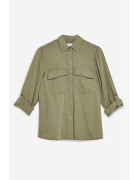 Khaki Utility Double Pocket Shirt by Topshop