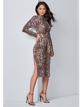Python Print Bodycon Dress by Venus