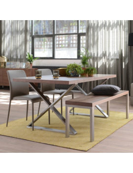 Crossed Leg Walnut 6 Seater Dining Table Brushed Steel Leg by Dwell