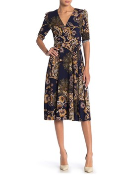 Printed Faux Wrap Midi Dress by Eliza J