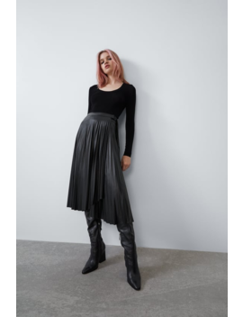 Faux Leather Pleated Skirt Midi Skirts Woman by Zara