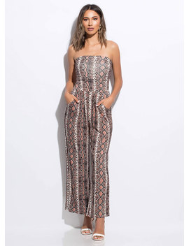 Snake Skin Strapless Palazzo Jumpsuit by Go Jane