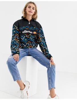 Ellesse Half Zip Sweatshirt In Geo Print Fleece by Ellesse