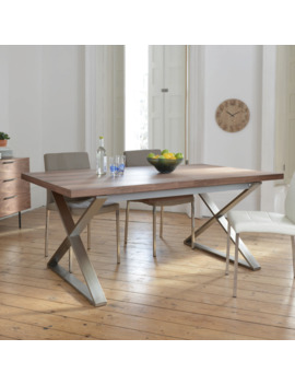 Crossed Leg Walnut Extending 6 10 Seater Dining Table Brushed Steel Leg by Dwell