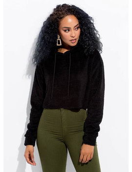 Fleece And Love Furry Cropped Hoodie by Go Jane