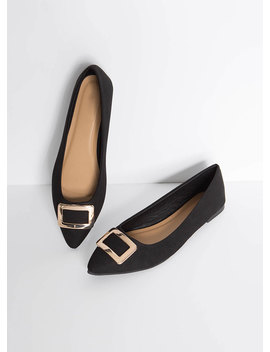 Buckle My Faux Suede Pointy Flats by Go Jane