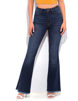 Denim Flare Fringed Bell Bottom Jeans by Go Jane