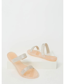 Sparkle Time Jeweled Strap Slide Sandals by Go Jane