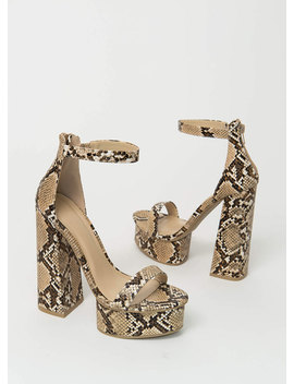 Retro Vibe Chunky Faux Snake Platforms by Go Jane