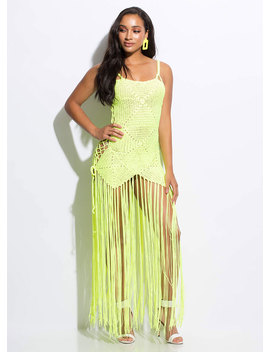 Knit's So Hot Lace Up Fringed Maxi Dress by Go Jane