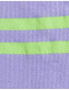 Asos Design Calf Length Stripe Sock In Lilac And Green by Asos Design