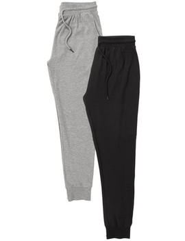 Black/Grey Jersey Cuffed Long Bottoms Two Pack by Next