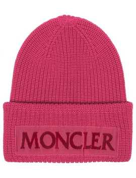 Pink Logo Wool Beanie by Moncler