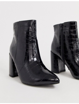 New Look Wide Fit   Bottes Pointues à Talons   Noir Croco by New Look