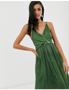 Asos Design Midi Dress In Washed Chiffon With Trimmed Back Detail by Asos Design