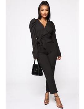 Mila Puff Sleeve Jumpsuit   Black by Fashion Nova