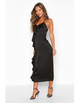 Petite Frill Detail Satin Cami Slip Dress by Boohoo