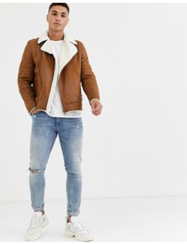Burton Menswear Shearling Jacket In Brown by Burton Menswear London