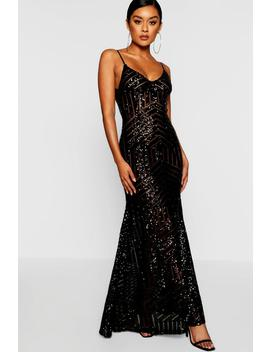 Sequin & Mesh Strappy Maxi Dress by Boohoo